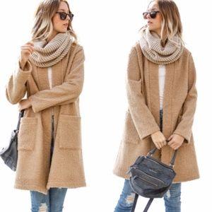 NATALIA Long Sleeve Boucle Jacket - CAMEL
